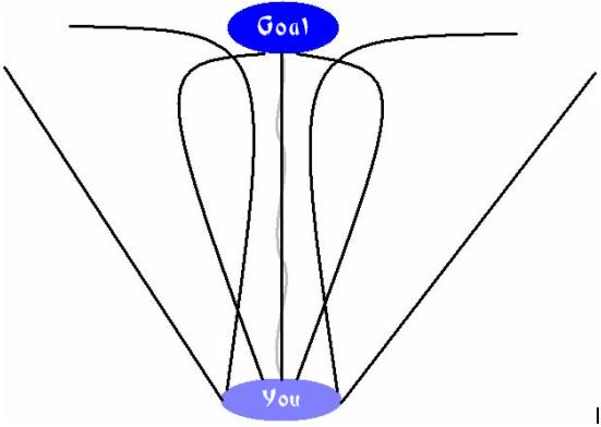 Different paths to achieving a goal